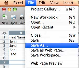 Bulk SMS End User Guide How to Export Microsoft Excel to CSV in Mac OS